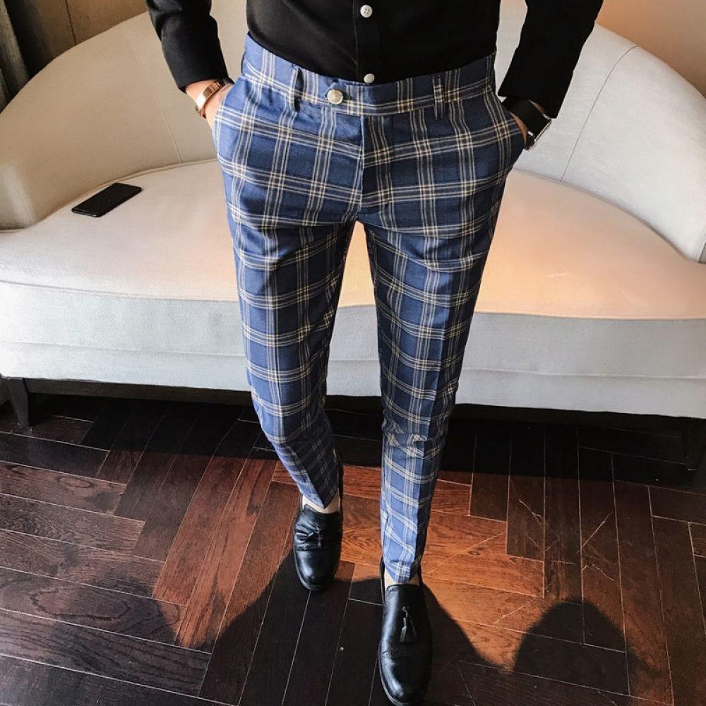 Men Dress Pant Plaid Business Casual Slim Fit Ankle Length Pantalon A Carreau Homme Classic Vintage Check Suit Trousers Wedding