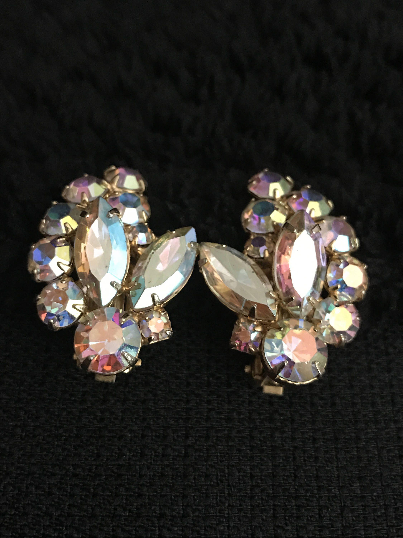 Vintage Ab Swarovski Crystal Clip Earrings Bridal Navettes