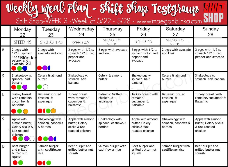 Shift Shop Example Meal Plan: Week 3; Plan A www ...
