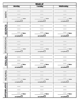 Assignment Notebook Daily Planner Template Perfect For Middle