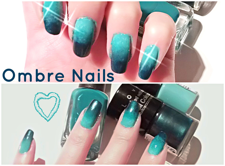 znalezione obrazy dla zapytania black teal ombre nail | nails