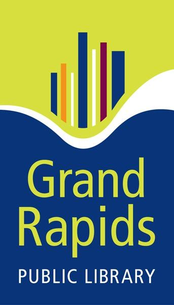 "Logo - Text ""Grand Rapids Public Library"" in green and white lettering on green, white, and dark blue background."