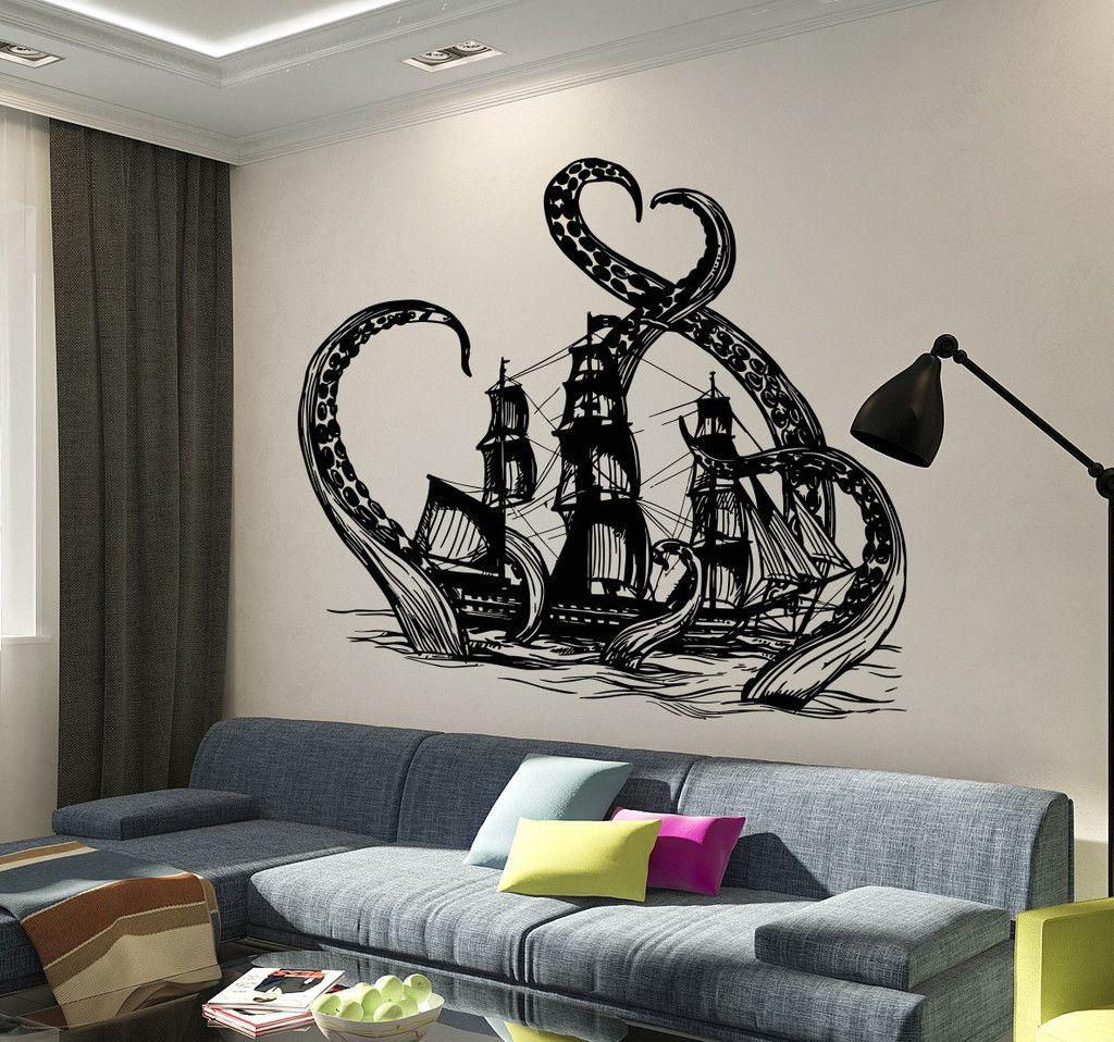 Vinyl Wall Decal Kraken Octopus Ship Nautical Ocean Teen Room