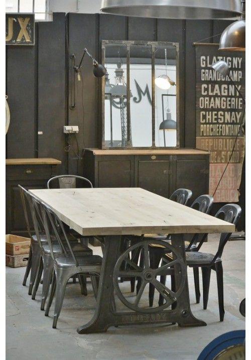 Table d 39 atelier design en 2019 table industrielle d co loft industriel et mobilier de salon - Table atelier industriel ...