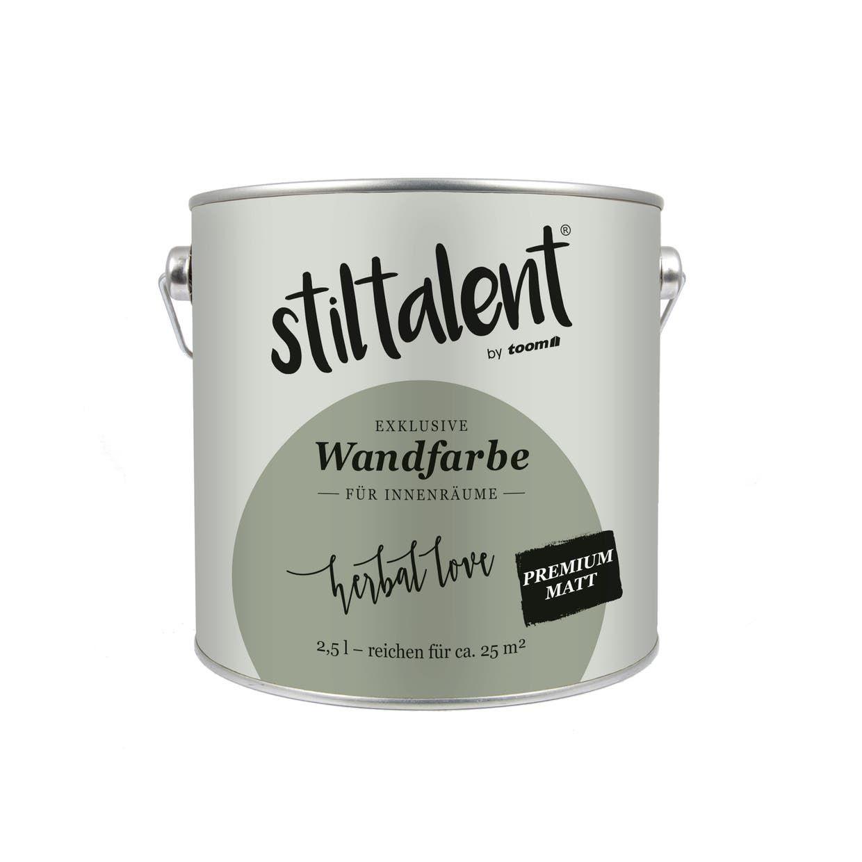 Toom Stiltalent Wandfarbe Herbal Love Premium Matt 2 5 L ǀ Toom Baumarkt In 2020 Wandfarbe Dispersionsfarbe Wand