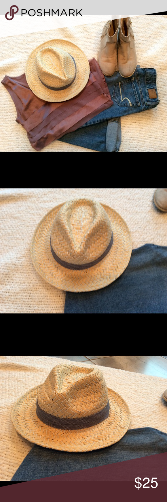 "Lucky brand Straw Hat Darling straw hat!  Goes great with jeans and booties or a floral dress and sandals!  Never worn!  Bought on sale at Lucky Store for my daughter but got a ""I don't wear hats, Mom!"" answer!  Ahaha!  Kids - gotta love 'me! ☺️ The boots and shirt are available, too!  Let me know if you want to see close-up pics! Lucky Brand Accessories Hats"