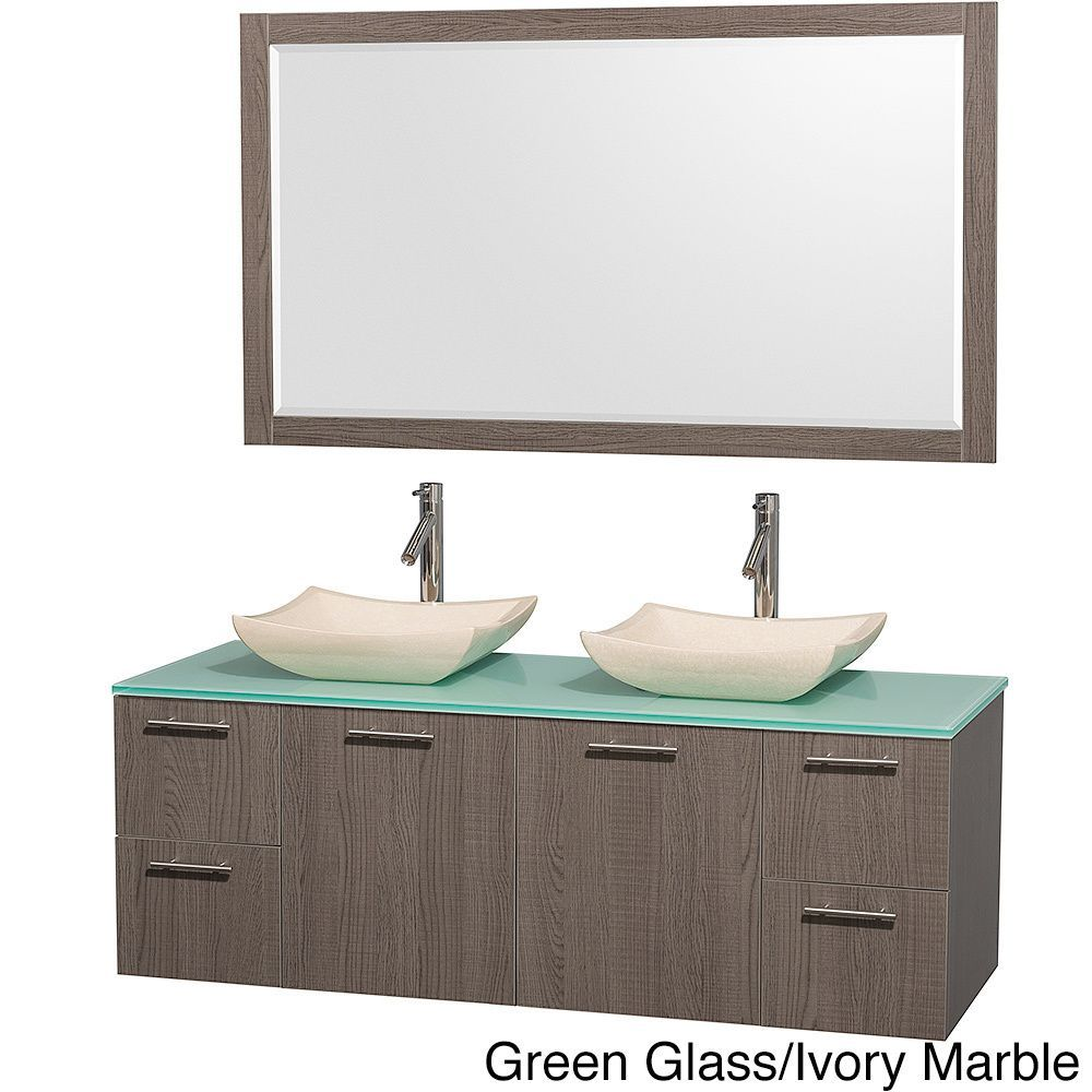 Wyndham Collection Amare Grey Oak 60 Inch Double Bathroom Vanity