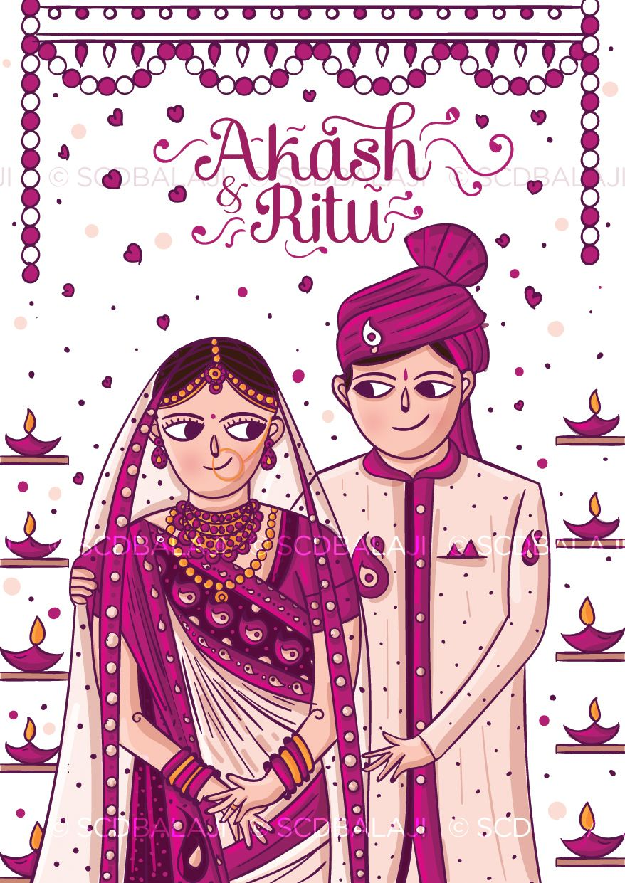 Gujarati Wedding Invitation Illustration And Design By Www Scdbalaji