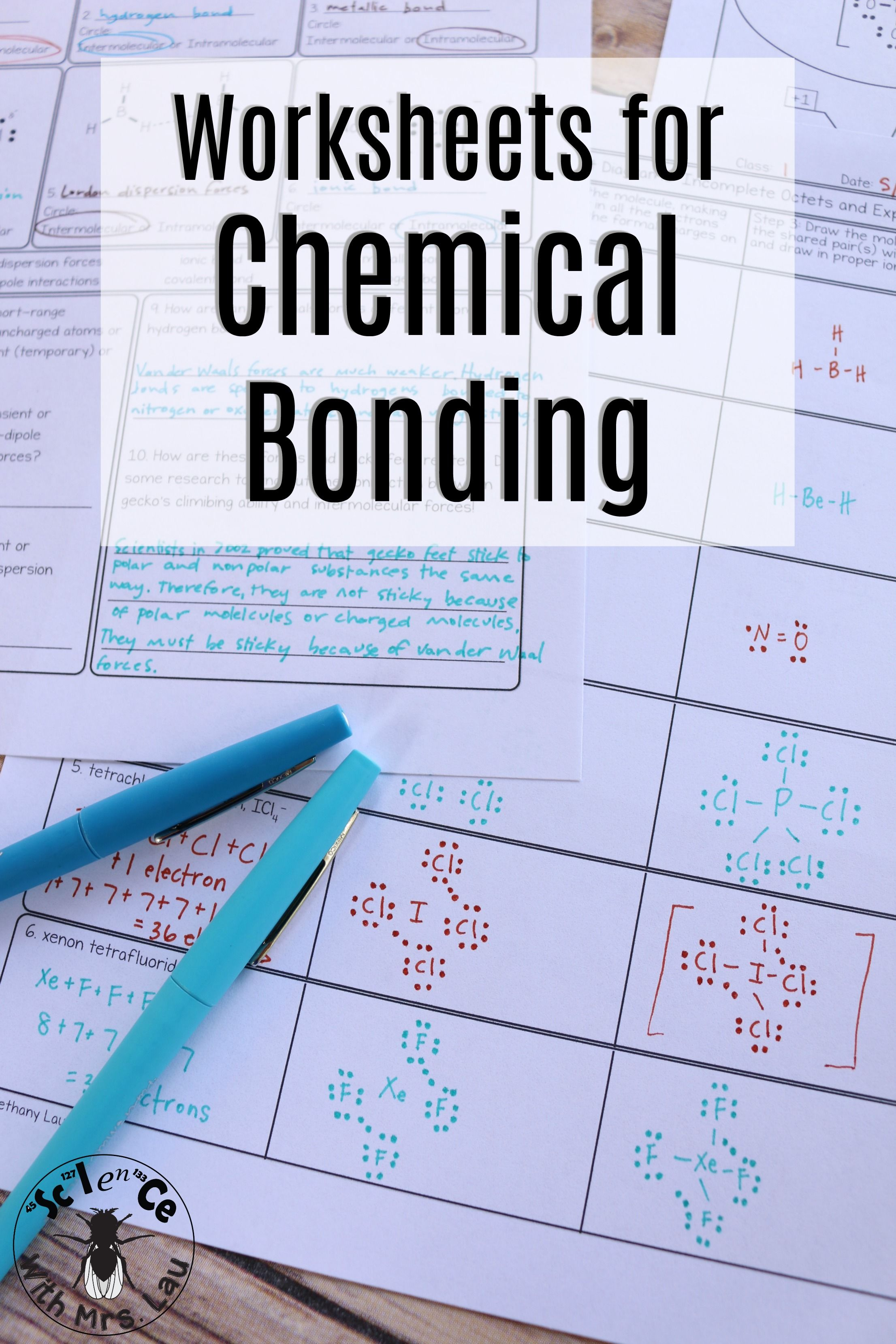 Chemical Bonding Chemistry Homework Page Unit Bundle