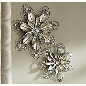 Set Of 2 Lillia Flower Wall Art Metal Flower Wall Art Flower Wall Art Metal Flowers