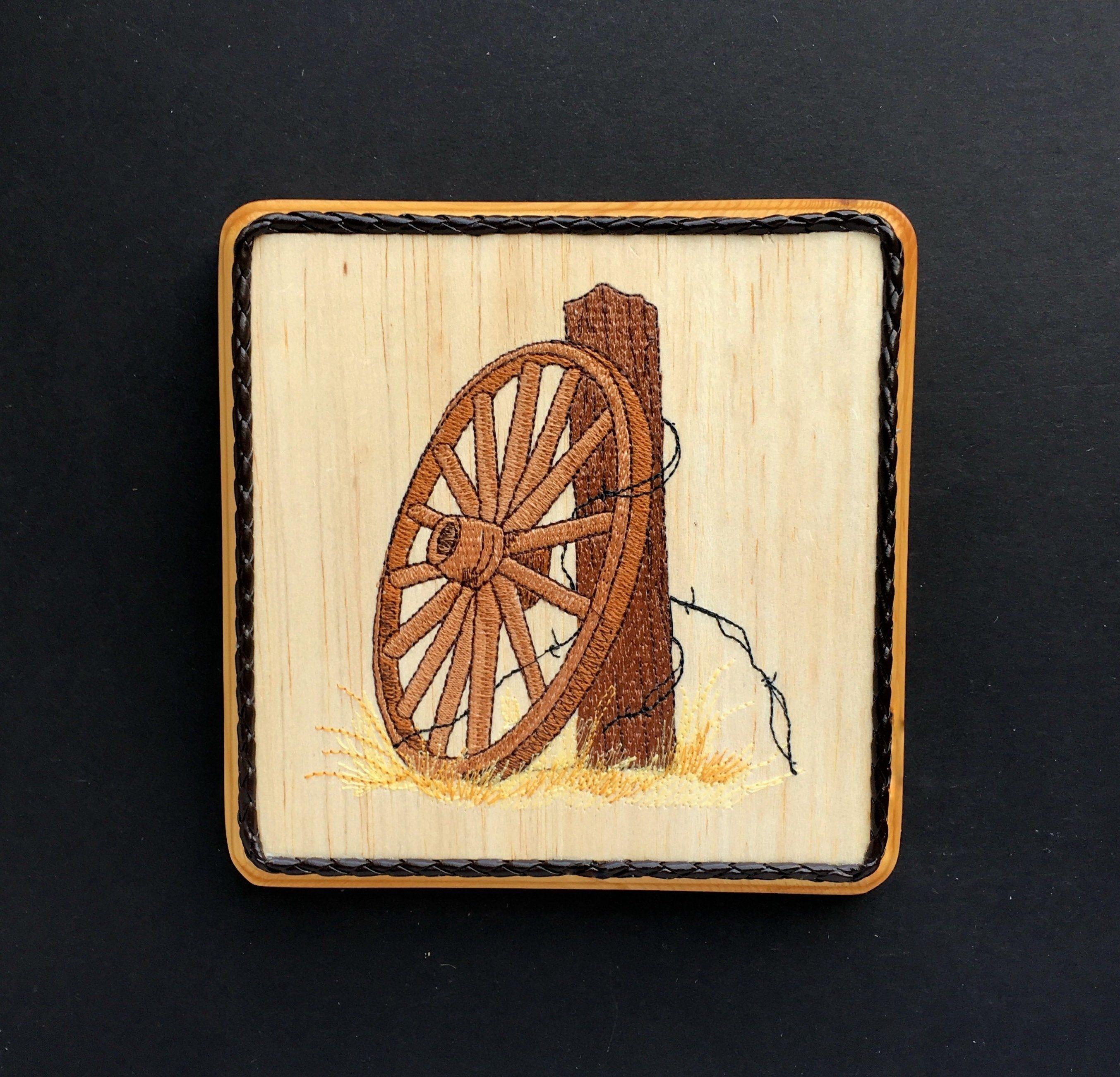 Wooden Wagon Wheel Wall Decor, Balsa Wood Embroidery Art, Prairie ...