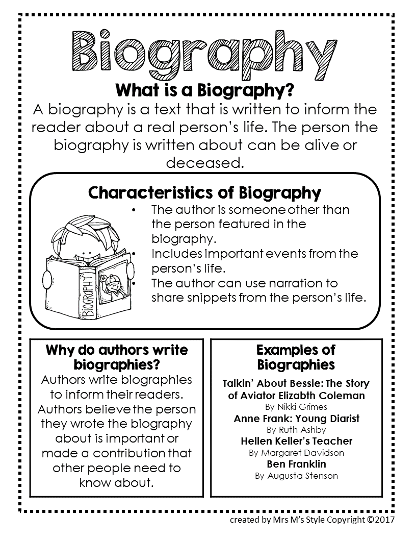 biographie anglais