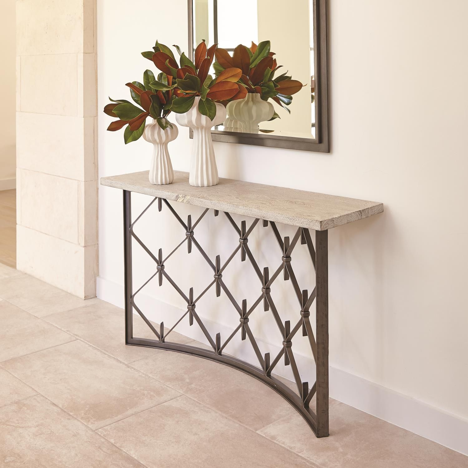 Sidney Console Natural Iron Plank Top Global Views60 W X 33 H X 16 Deep 133 Lb Wrought Iron Console Table Wood Console Table Wood Console