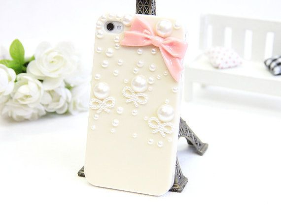 pearl bow iphone 4 case iphone 4s case iphone 5 by happynessdecal, $11.99