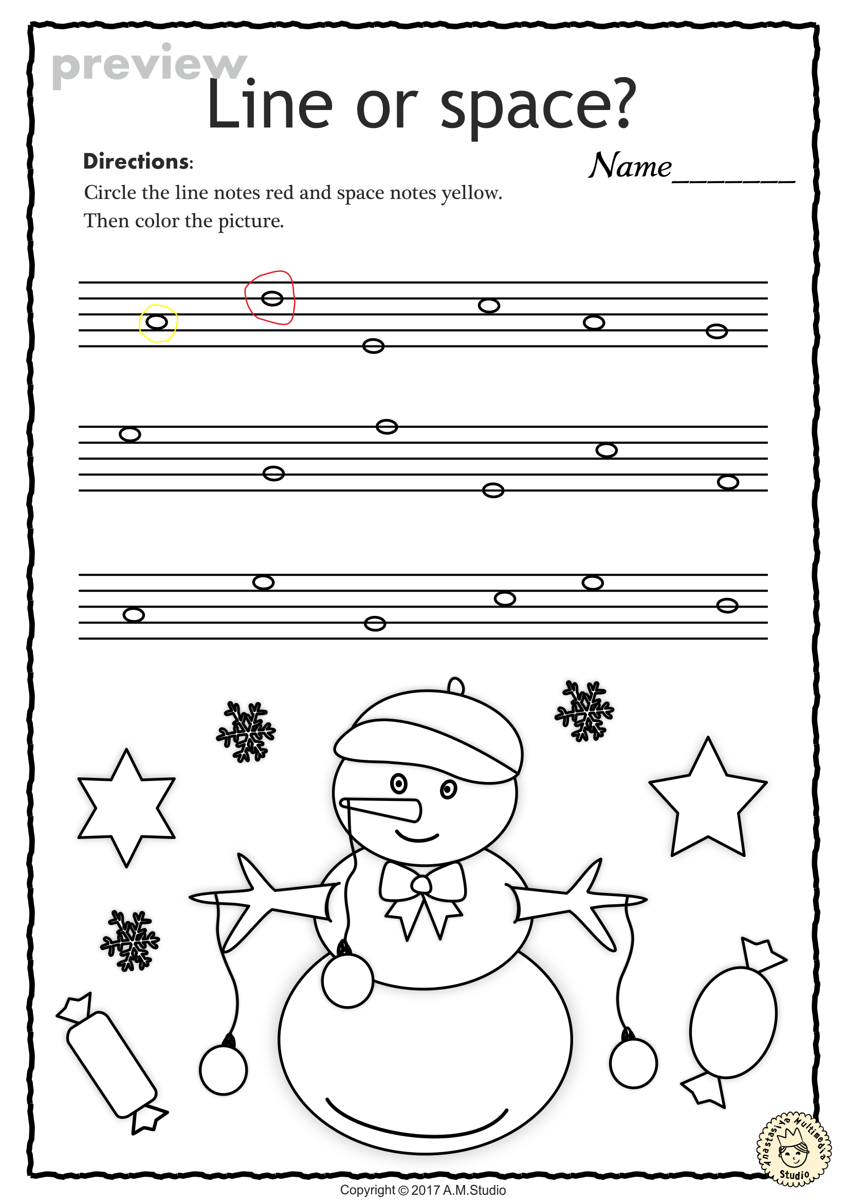 Christmas Music Worksheets {Lines-Spaces, High-Low} | Music ...