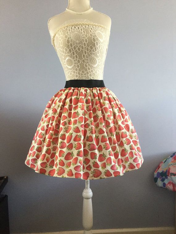 Scrumptious Strawberry full skirt by PicknMix on Etsy
