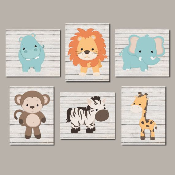 Zoo Animal Nursery Art Nursery Wall Decor Prints Or Canvas Etsy Safari Nursery Art Zoo Animals Nursery Baby Animal Nursery