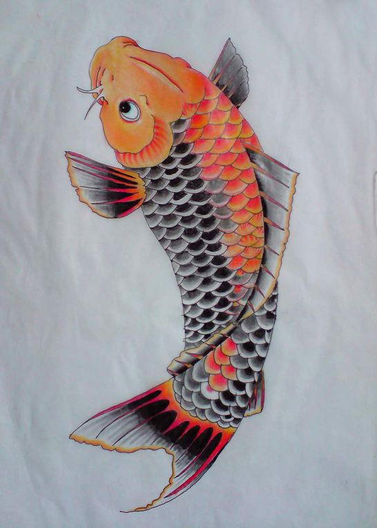Tattoo flash koi carp colour study study japanese for Koi meaning japanese