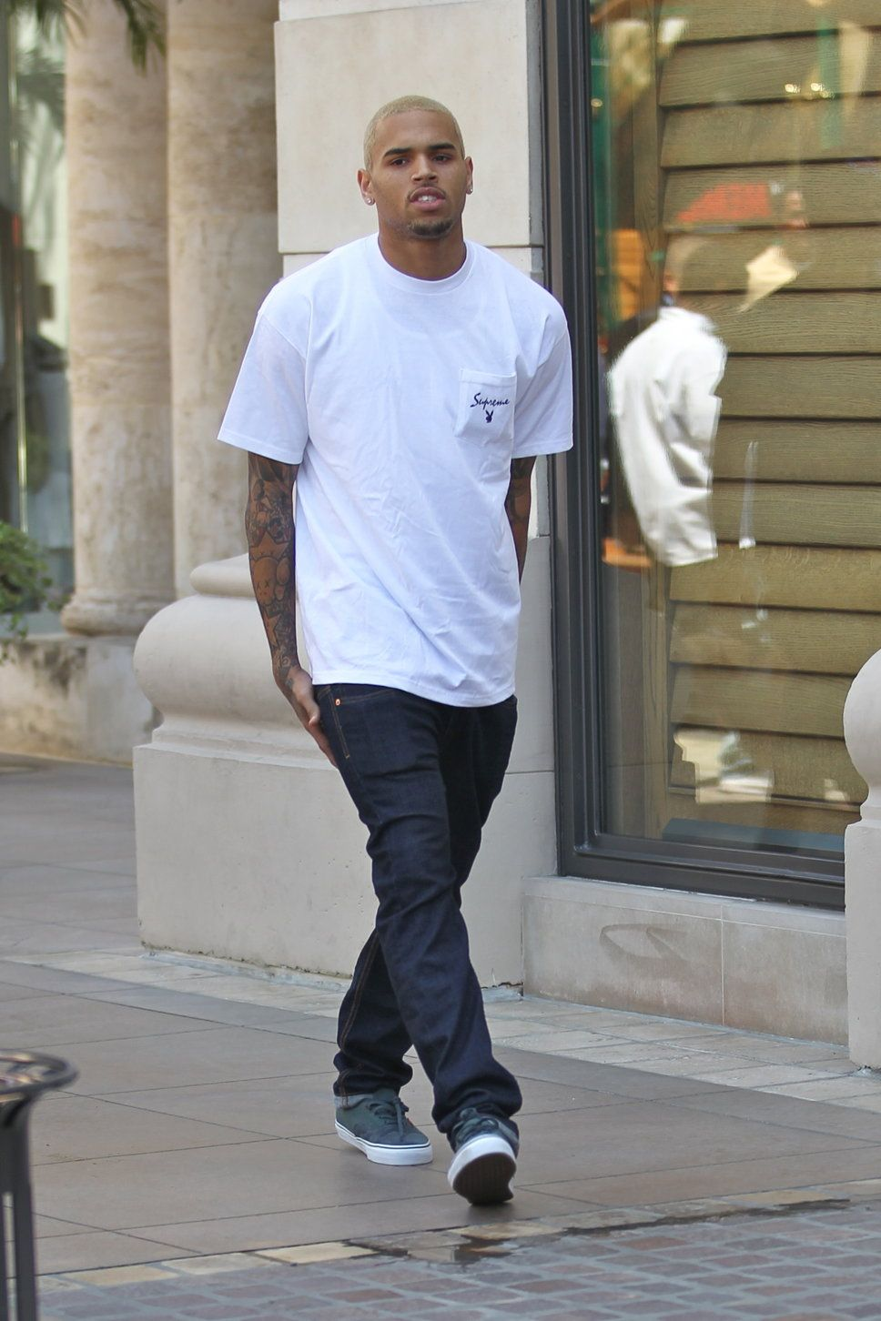 Chris Brown White Tee Jeans Blonde Hair Sneakers With Images