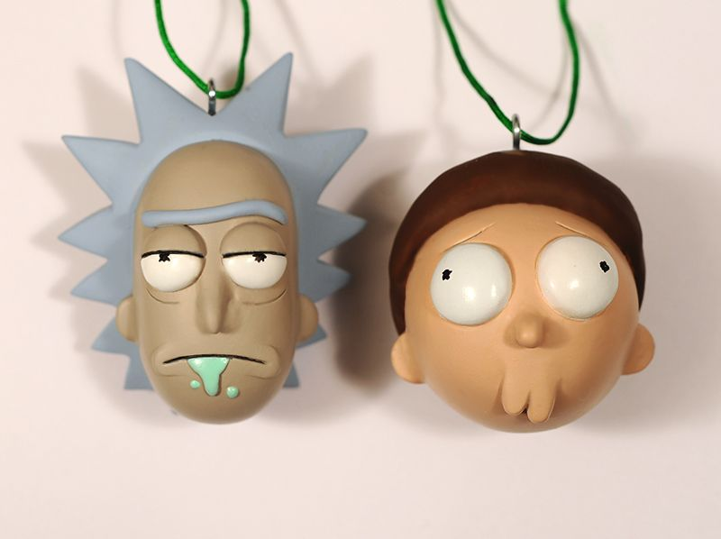 rick and morty fanmade ornamentswhipped these up for friends this holiday have a few copies left if anyone is interested 60 shipping send me a note