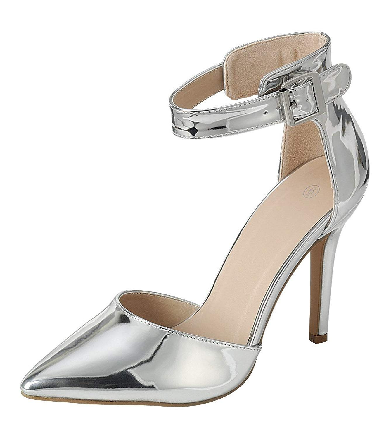 bba8eefce78 Cambridge Select Women s Closed Pointed Toe D Orsay Buckled Ankle Strap  Stiletto High Heel Pump