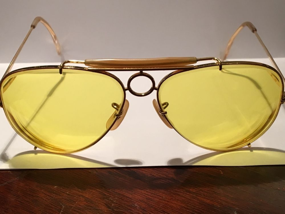27a7f2e95b2 Vintage Ray-Ban USA B   L Aviator GOLD SUNGLASSES Bullet Hole Shooter   RayBan  Aviator