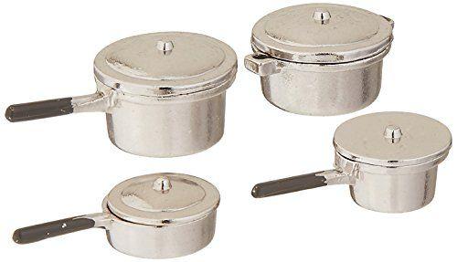 Aluminum Pot Set kitchen dollhouse miniatures   #MA1167 1//12 scale