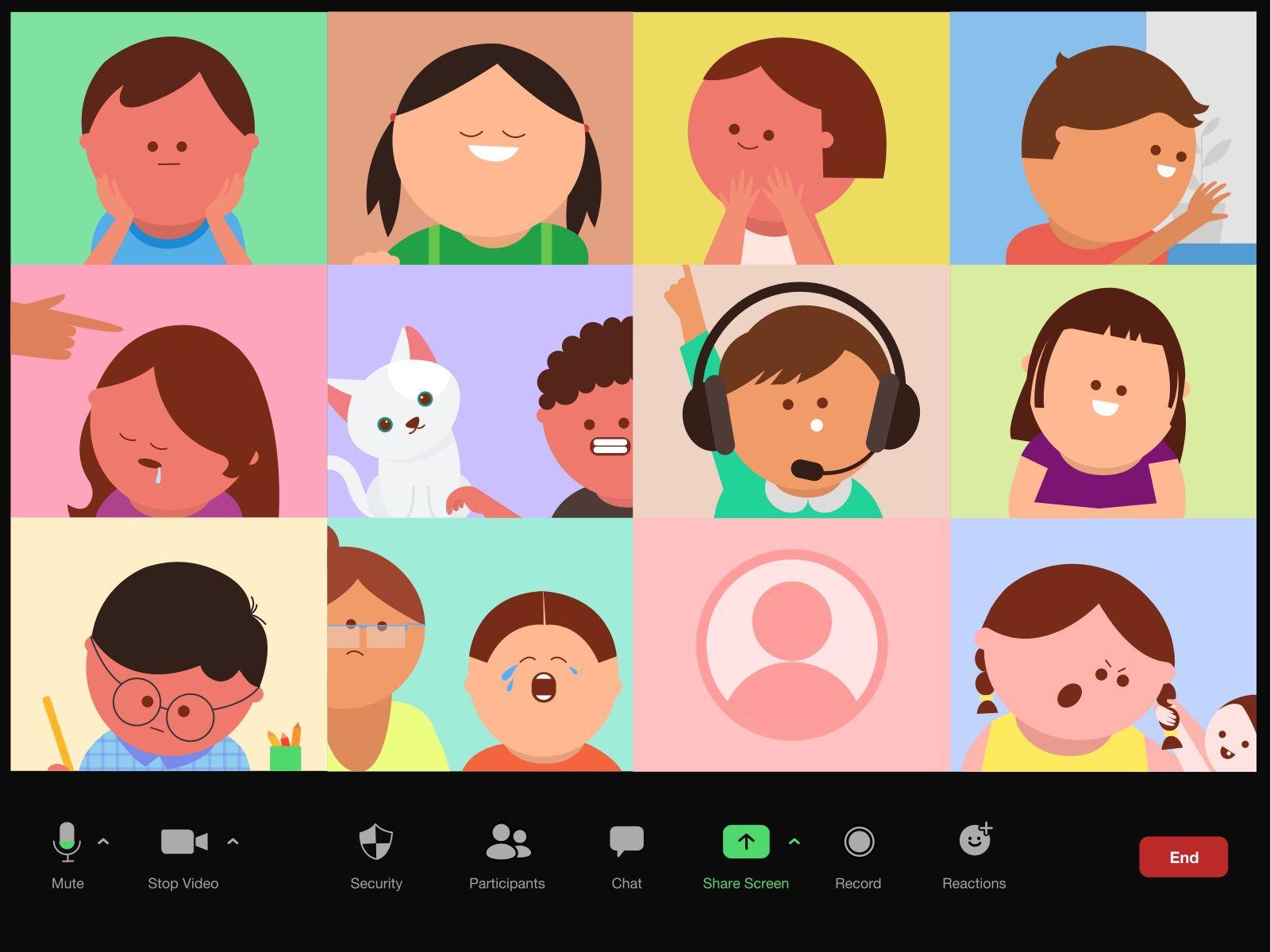 Kids in a Zoom meeting in 2020 Digital illustration
