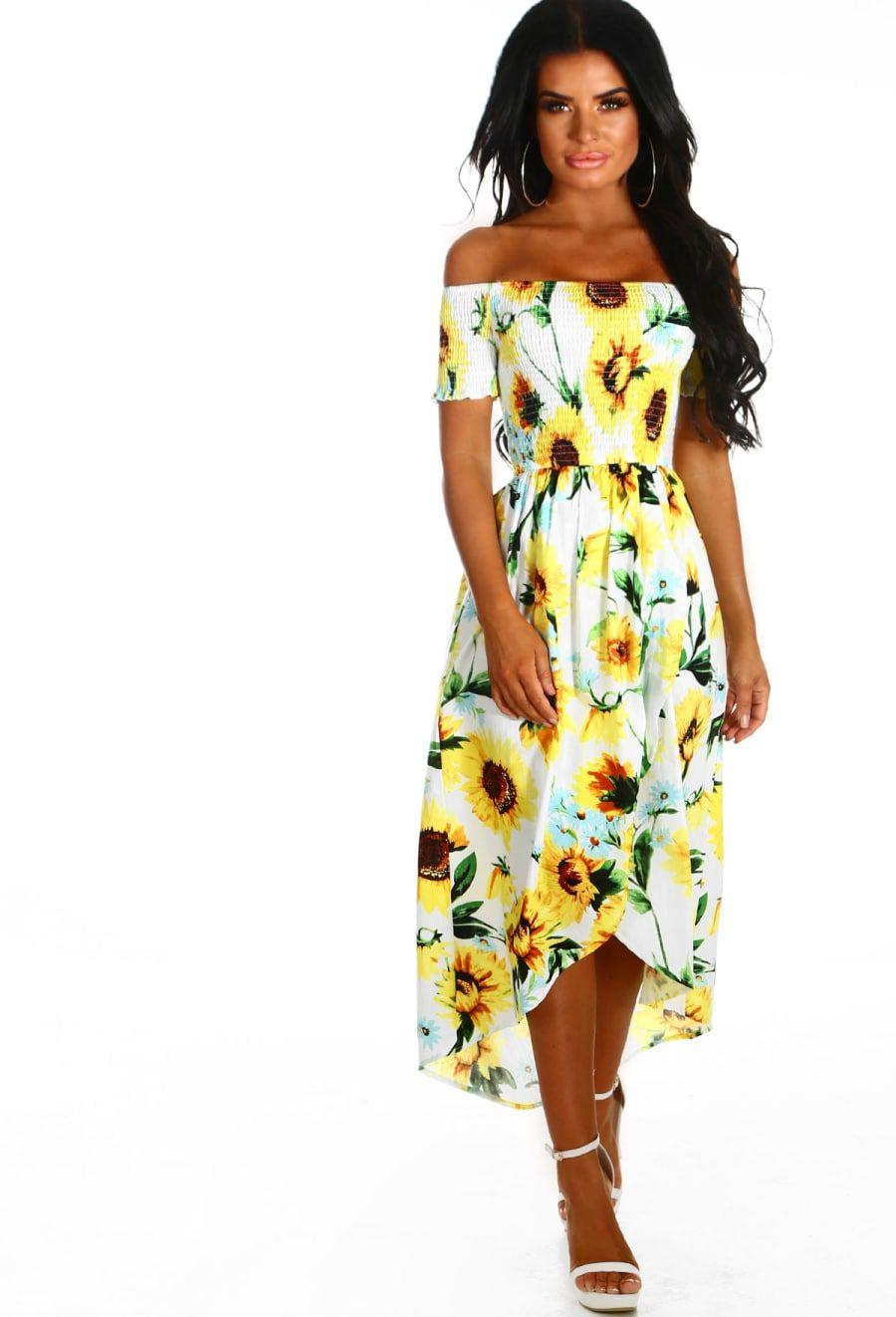 Miss Mykonos White Sunflower Print Bardot Midi Dress Dresses Pink Midi Dress Bardot Midi Dress [ 1322 x 900 Pixel ]
