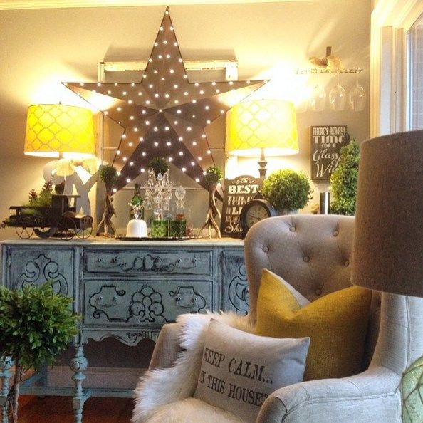 Gorgeous Living Room Love The Mixture Of Vintage Upcycled And New Stuff Light Up Star From Tractor Supply Home Decor Home Living Room
