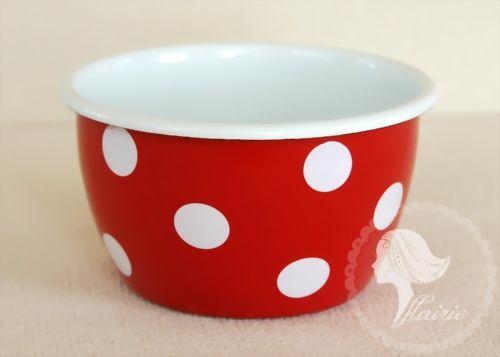 afe49fcce12bec Emaille Schüssel 14 cm rot weiss Punkte Tupfen Bowl red white Dots Email  Nostalgie - Flairie - Schöne Dinge Online-Handel Silvia Neumann