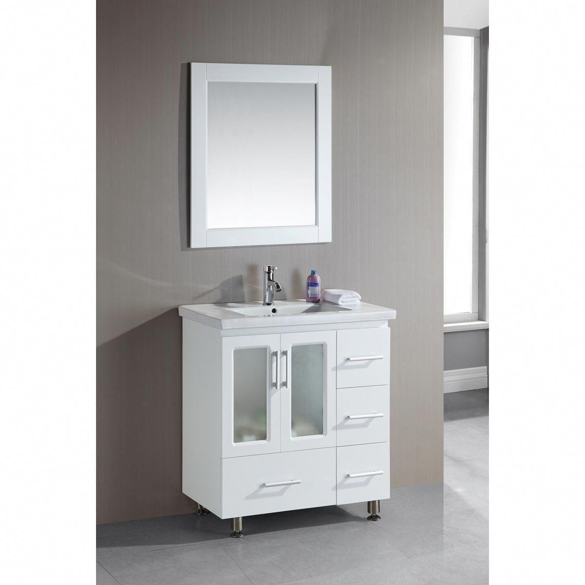 Design Element 32 Inch Single Drop In Sink Vanity 32 Single Drop In Sink Vanity White Color Small Bathroom Vanities Modern Bathroom Cabinets Trendy Bathroom