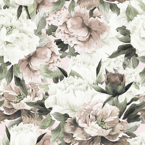 Removable Wallpaper Vintage Bouquet of Peonies Peel