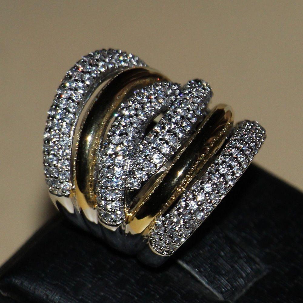 Formato 5-11 trasporto libero dei monili di lusso diamonique oro bianco 14kt riempito donne fascia da sposa diamante simulato anello regalo