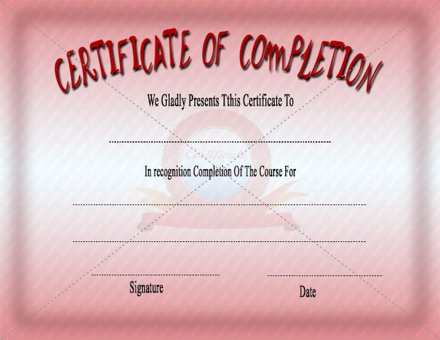 Certificate of completion certifiate of completion templates template certificate of completion yelopaper Image collections