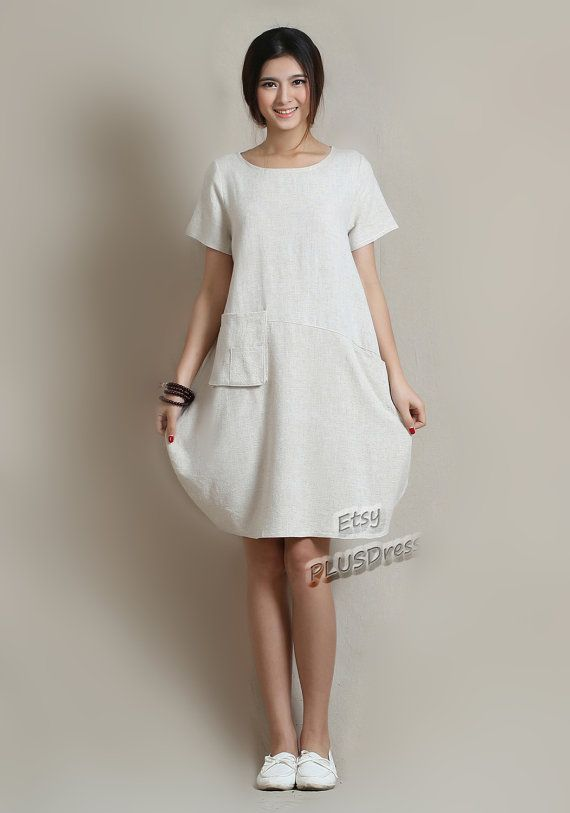 Anysize soft linen & cotton LANTERN loose dress with deep heel ...
