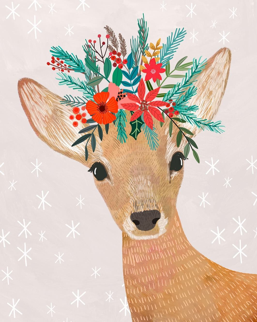 "Mia Charro � on Instagram: ""Merry Christmas to everyone! ��� Feliz Navidad a todos! . . . #christmasgreetings #miacharro #christmasdeer #floralcrown #merrychristmas…"""