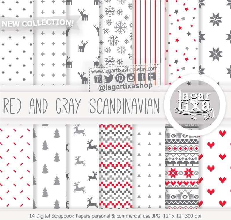 Red Gray Grey Scandinavian Nordic Christmas Digital Paper Etsy In 2020 Digital Paper Digital Scrapbook Paper Nordic Christmas