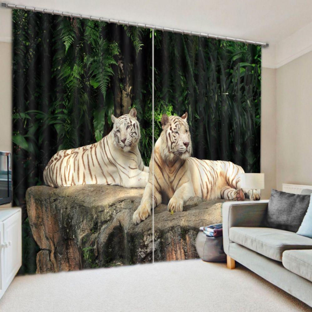 Alluring Royal Tiger Curtain Set in 2019   3D Animal Print
