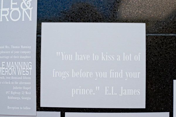 Book quote enclosure in gray wedding invitation suite. See more of this 50 Shades of Grey inspiration session here: http://www.mywedding.com/articles/modern-charcoal-gray-and-silver-inspiration-session-by-andie-freeman-photography/
