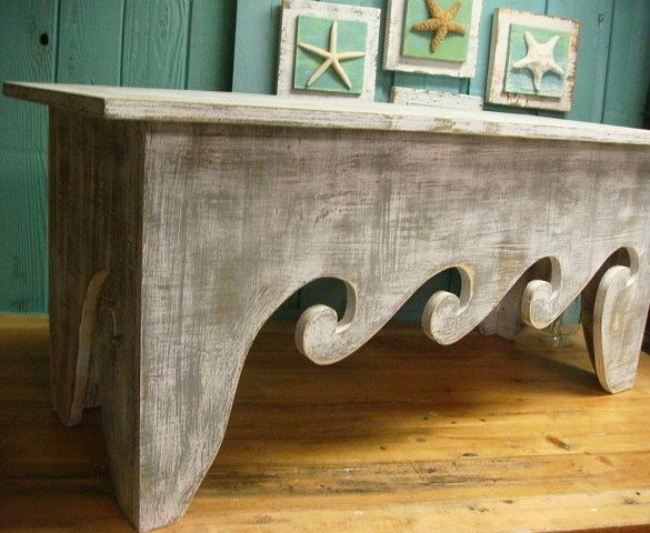waves bench coffee table beach house decor - assemble yourself