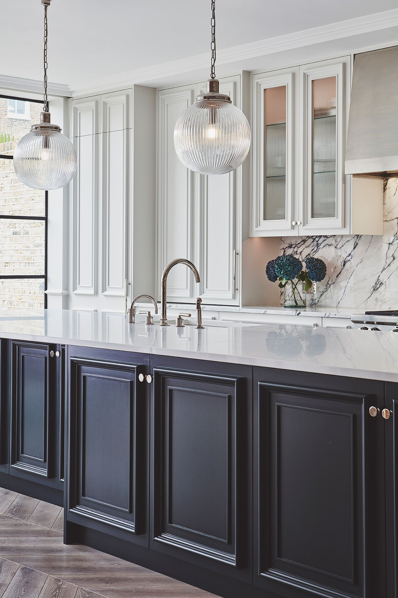 This Blakes London Kitchen Was Inspired By Our Earlier Blenheim Kitchen An Interpret Glass Kitchen Cabinets Glass Kitchen Cabinet Doors Black Kitchen Cabinets