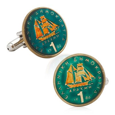 Hand Painted Grecian Coin Cufflinks, Penny Black Forty / Cufflinskman