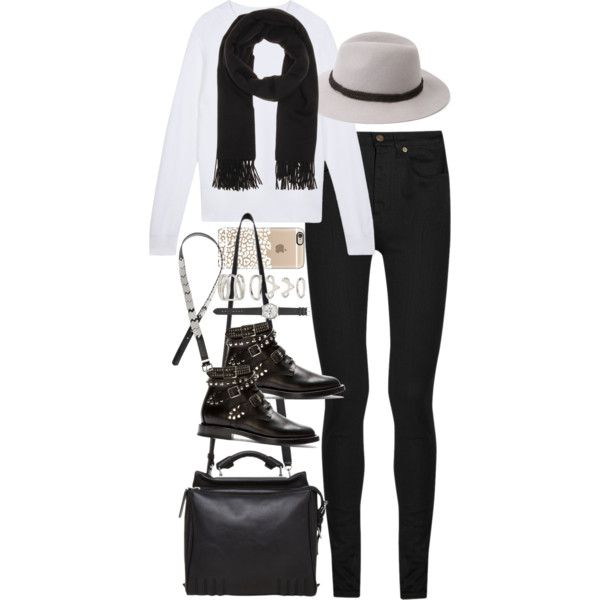 Inspired outfit for a casual day by whathayleywore on Polyvore featuring Yves Saint Laurent, 3.1 Phillip Lim, Forever 21, J.Crew, Acne Studios, H&M and Sandro