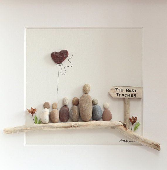 Personalised pebble art, pebble art teacher with pupils, gift for teacher, Best teacher, teachers day gift, Christmas gift, anniversary gift