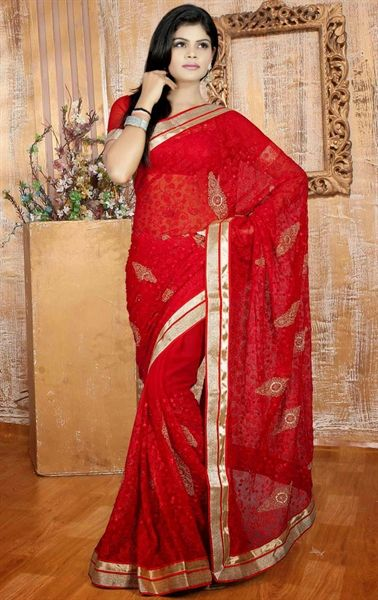Picture of Vivacious Red Color Chiffon Saree