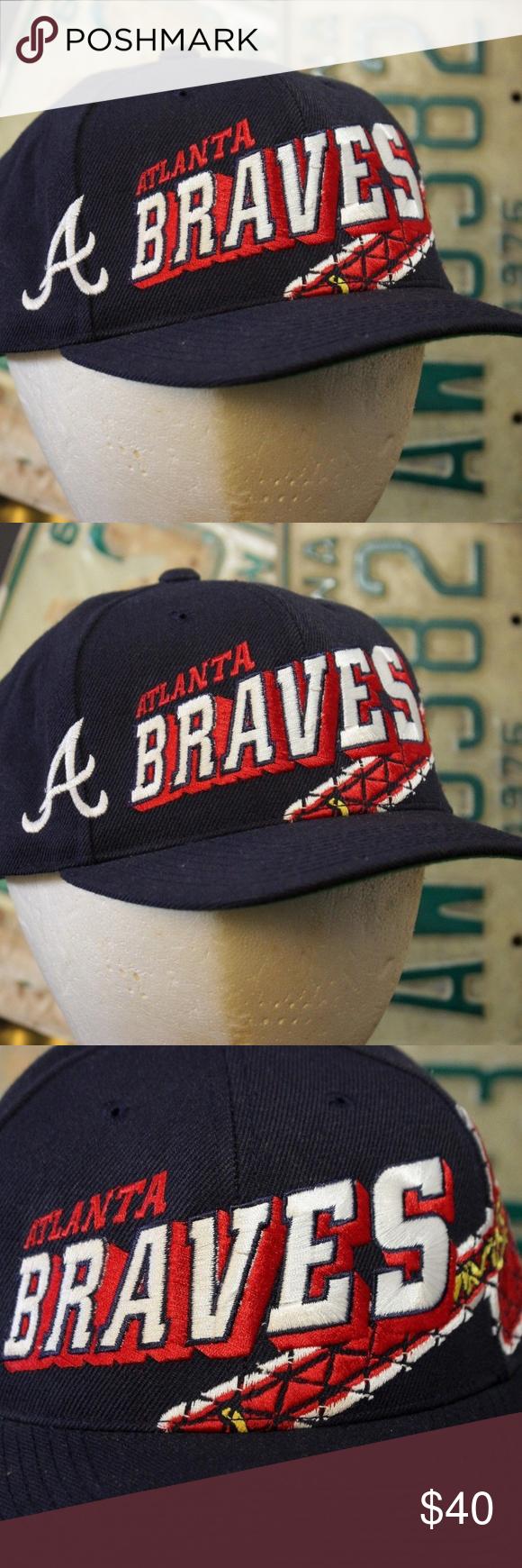 Vintage Atlanta Braves Snapback Hat Baseball Cap Up For Purchase Is A Vintage Atlanta Braves Large Logo Snapback Hat Snapback Hats Baseball Hats Atlanta Braves