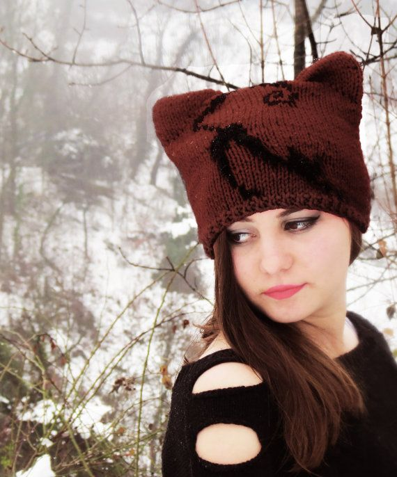 #KnitCatEarHat #Brown #CatEarBeanie #CatHats #EmofoFashion