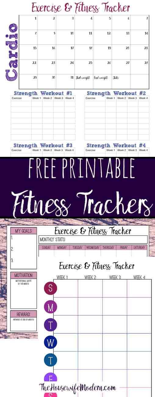 Free Printable Fitness Trackers: 3 Different Monthly Designs #fitness #fitnessgoals #goals #health