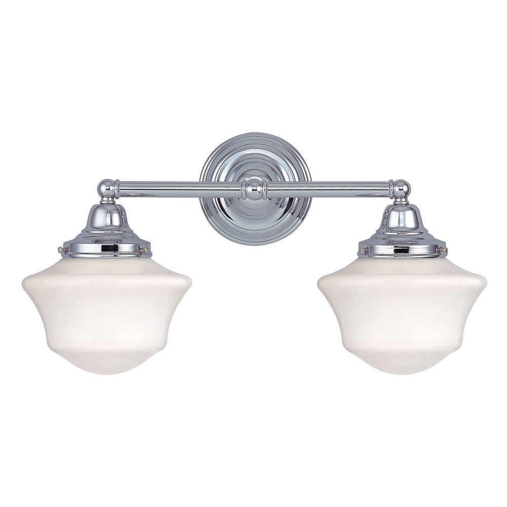 Design Clics Lighting Schoolhouse Bathroom Light With Two Lights In Chrome Finish Wc2 26 Gc6